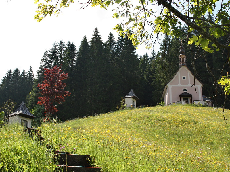 """The small pink church on the \""""Kalvarienberg\""""."""