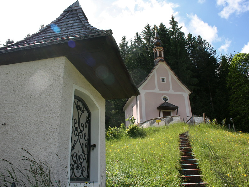 """The small pink church was built on an energy field on the \""""Kalvarienberg\"""" in Gosau at Dachstein."""