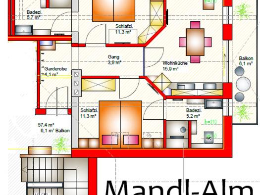 Grundriss Mandl-Alm