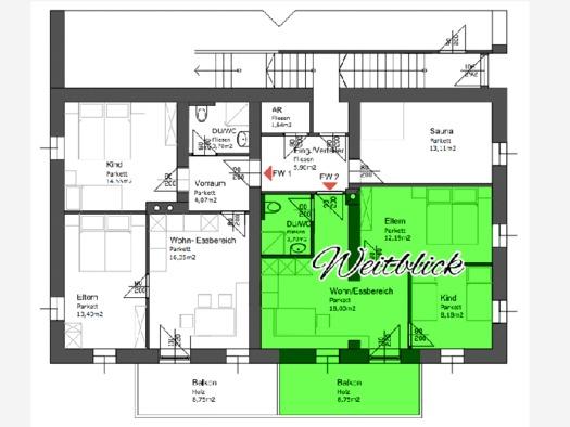 Plan von der Raumaufteilung der Ferienwohnung. (© Schwaighofer)