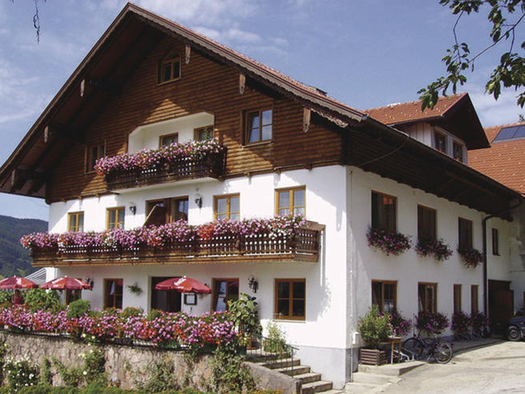 Blick auf den Bauernhof, viele Blumen auf dem Balkon, bei den Fenstern und vor dem Haus. (© Mairhofer)