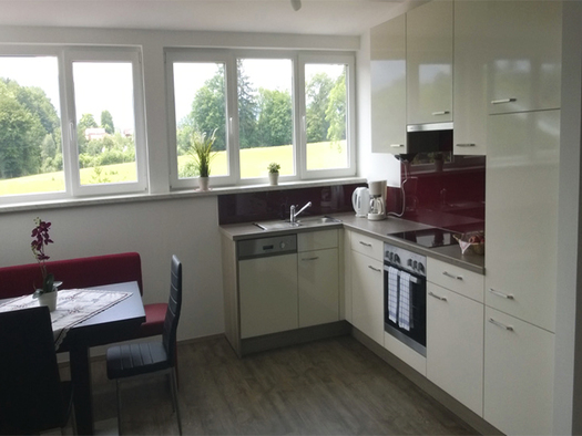 View of the kitchen with dishwasher, stove, coffee maker, water cooker, side bench - table and chairs, in the background window with garden view. (© Wienerroither)
