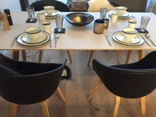 Gedeckter Esstisch und vier Stühle. (© Reisch-Raich)