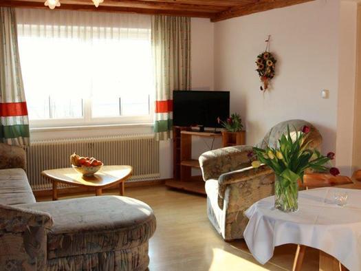 Wohnbereich mit Couch, Tisch mit einer Obstschale, Fernseher im Hintergrund, im Vordergrund ein Eßtisch mit Stühlen, darauf eine Vase mit Blumen. (© Mairhofer)