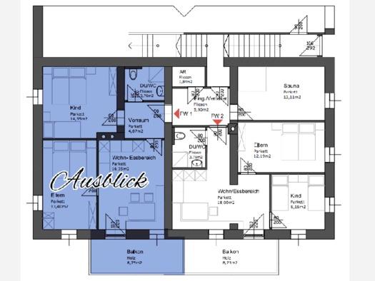 Plan von der Raumaufteilung der Wohnung. (© Schwaighofer)