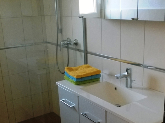 Bathroom with washbasin, mirror cabinet, towels, on the side shower. (© Wienerroither)