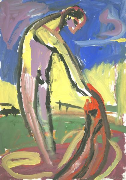 Siegfried Anzinger, Ohne Titel, 1982, Gouache auf Papier, 60,5x42,5cm, Landesgalerie Linz des Oö. Landesmuseums