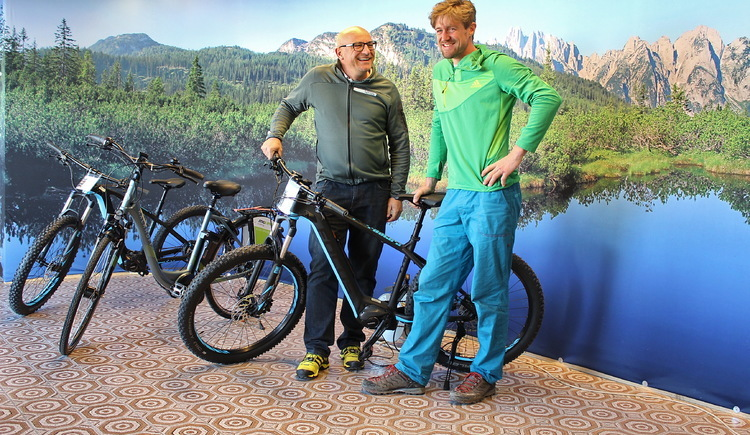 Karl Posch and colleague at the E-bike Nemo Point Shop