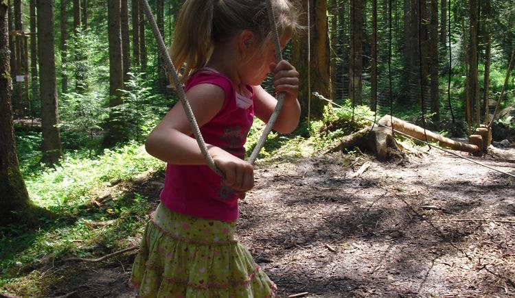 Kind in Seilschaukel - Urzeitwald - Gosau