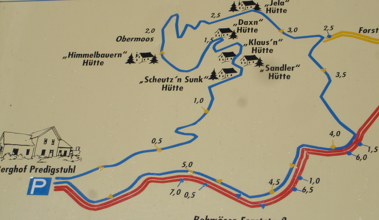 "A map with an overview of the ""Toleranzweg\"" in Bad Goisern at Lake Hallstatt."