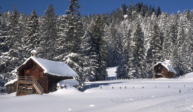 Verschneite Hütten auf der Panorama Nova Richtung Roosmoosalm. (© TVB)