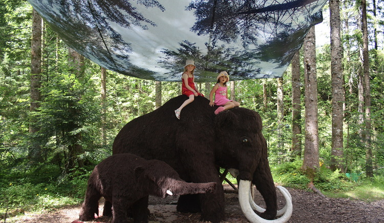 zwei Mädchen reiten auf Mamut