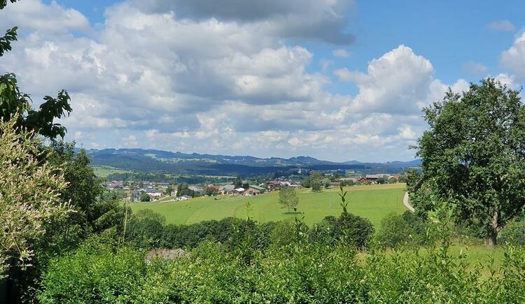 Ausblick vom Garten nach Ulrichsberg (© Ferienwohnung Mariandl | Maria Felhofer)
