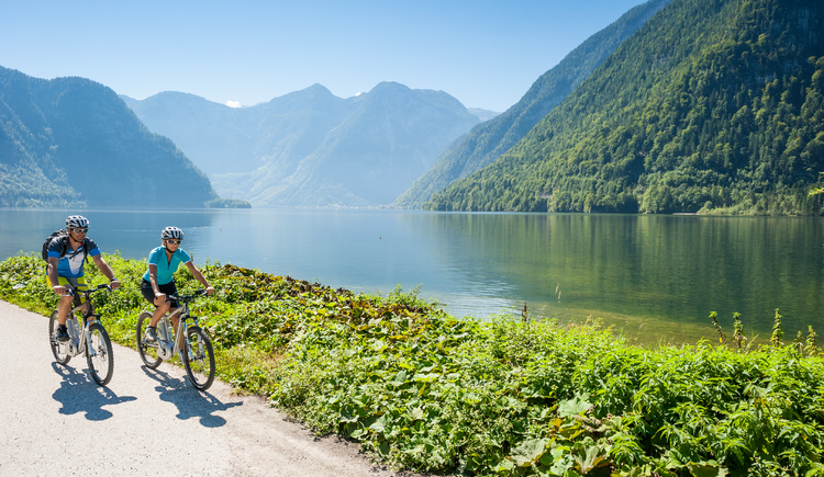 \nRelaxed e-bike ride along Lake Hallstatt on the Welterberunde in the Dachstein Salzkammergut.