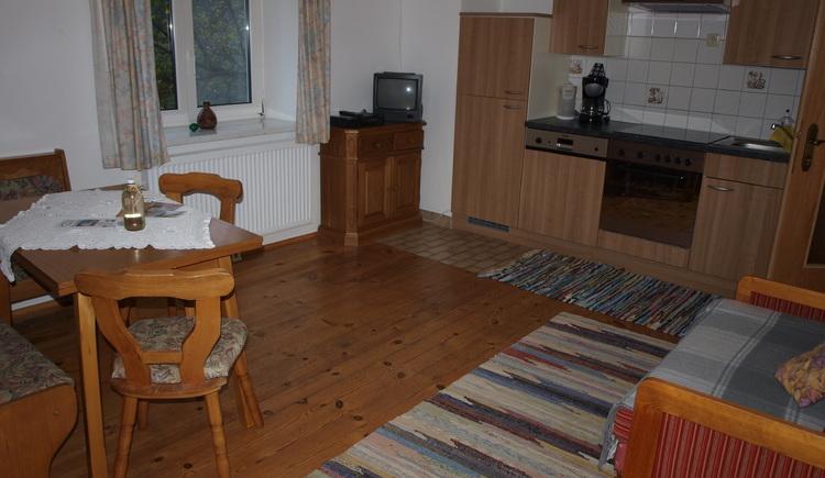 Wohnkueche mit Essecke.Couch und Sat-TV Wohnung 2