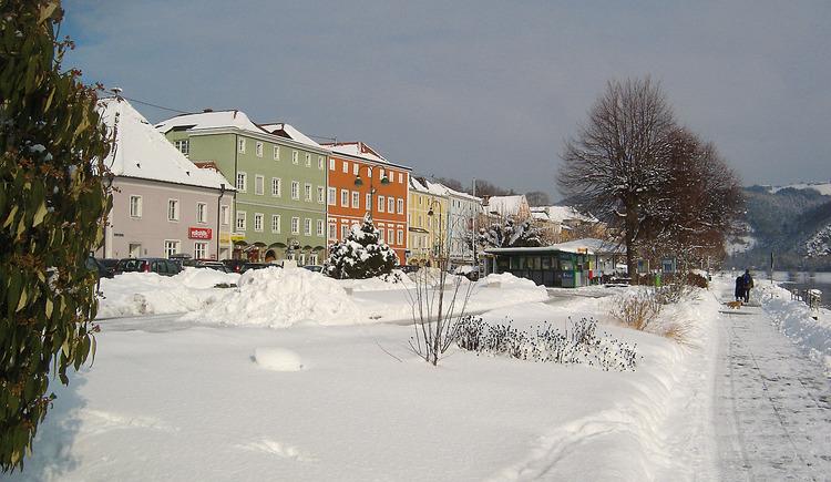 verschneites Aschach, Winterstimmung. (© Manfred Königstorfer)