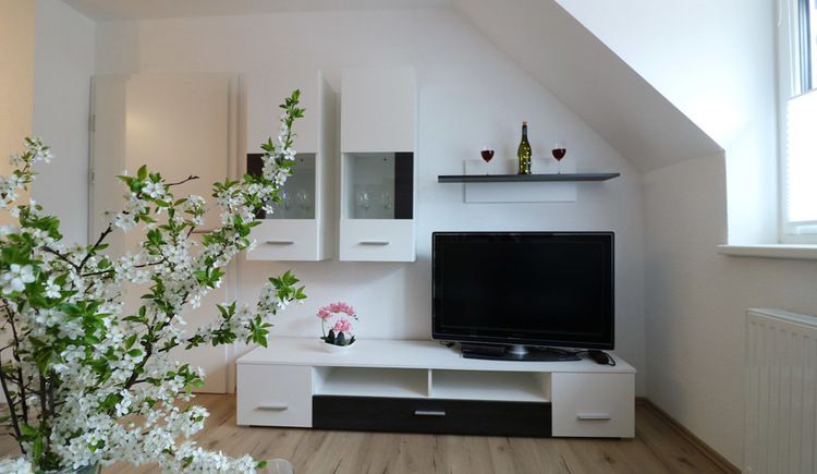 Modern living room with white furniture and large flat screen TV