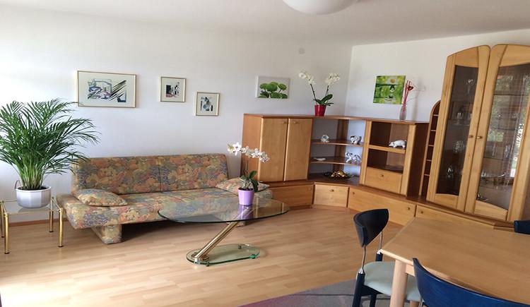 Apartment mit Seeblick - Wohnzimmer mit Couch und Vitrinenschrank