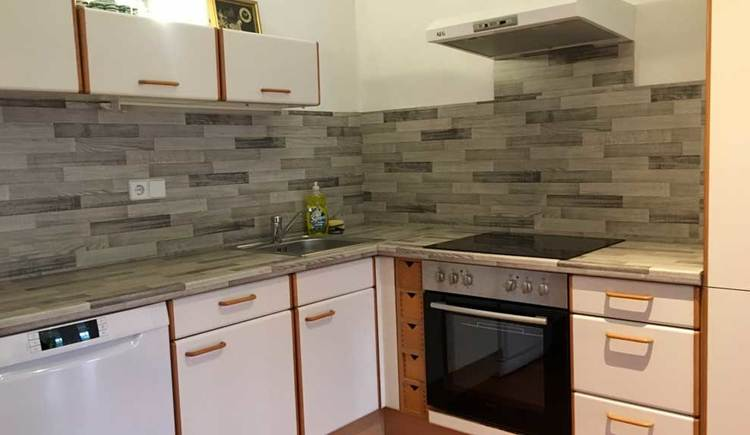 Kitchen with dish washer, cooker and kitchen cabinets