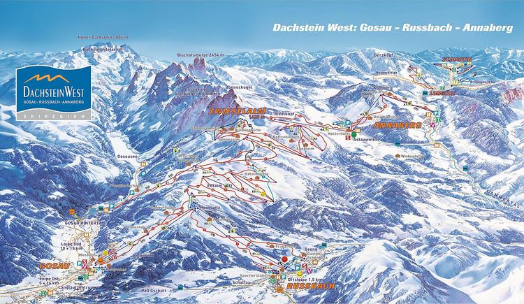 Plan Ski Gebiet und Lifte Gosau West