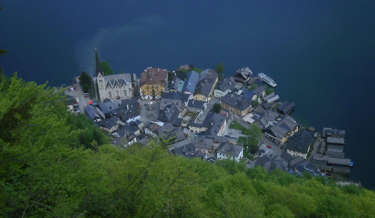 The world heritage view to the historical center of Hallstatt.