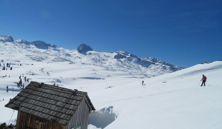 Schneeschuhwanderer am Dachsteinplateu mit wunderschönem Panorama. (© Betty Jehle)