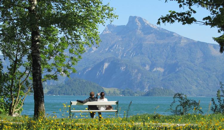 Personen sitzen auf einer Bank, vor ihnen der See und die Berge. (© Tourismusverband MondSeeLand)