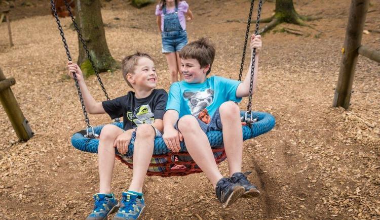 Kinder in Nestschaukel. (© Baumkronenweg Kopfing)