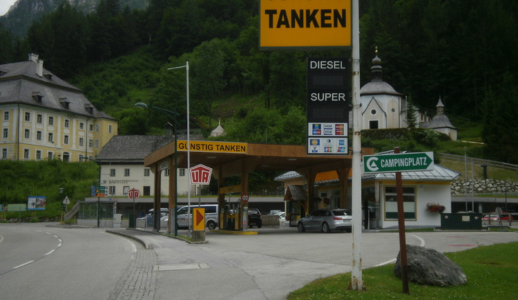 The Petrol Station is directly in front of the P1 parking area.
