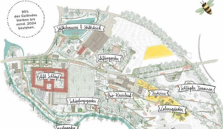 Gartenplan mit dem Schöpfungsweg (© Bio.Garten.Eden)