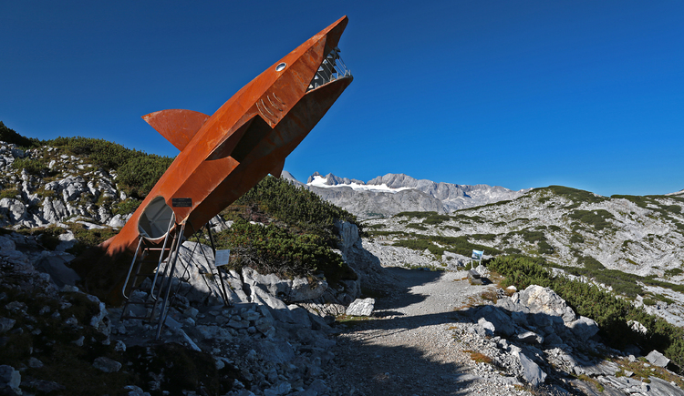 Photo of the Dachstein Shark under a bright blue sky. (© Viorel Munteanu)
