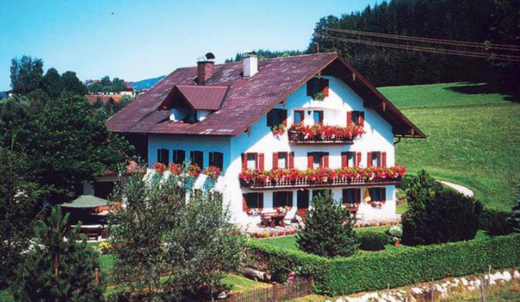 Blick auf das Haus mit Balkon und Blumen umgeben mit Wiesen und Bäumen. (© Putz)