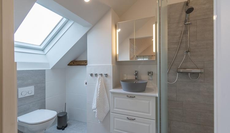 Beide Badezimmer des Chalets sind mit Dusche und WC ausgestattet, ein Fenster sorgt für Licht und Frischluft.
