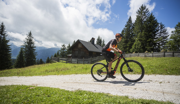 Rustic mountain huts are located along the mountain bike trails in the Salzkammergut.