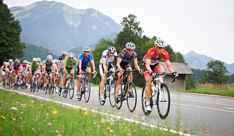 Radrennfahrer auf der Straße, im Hintergrund die Berge. (© Felgenhauer)