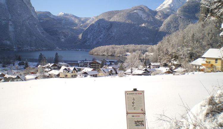 Ortsbild Obertraun mit See im Winter (© Ilse Hubeny)