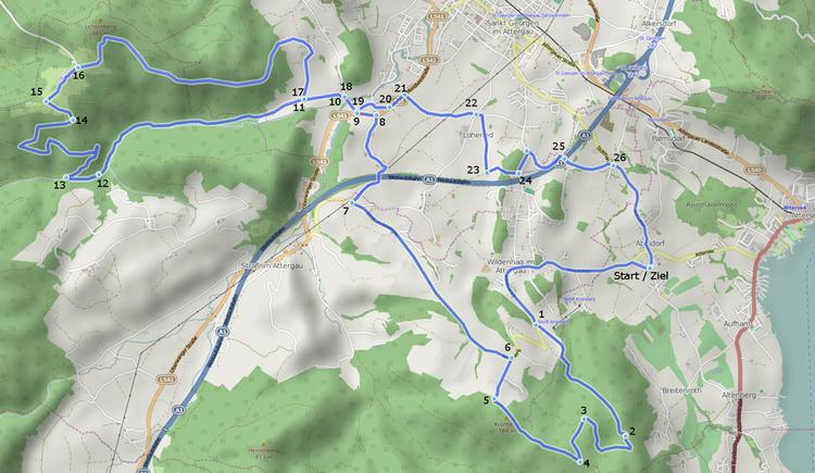 Abtsdorf-Kronberg-Lichtenberg-Abtsdorf - Streckenverlauf (© UASC Attersee)