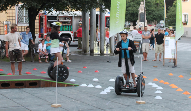 A child is driving with a segway