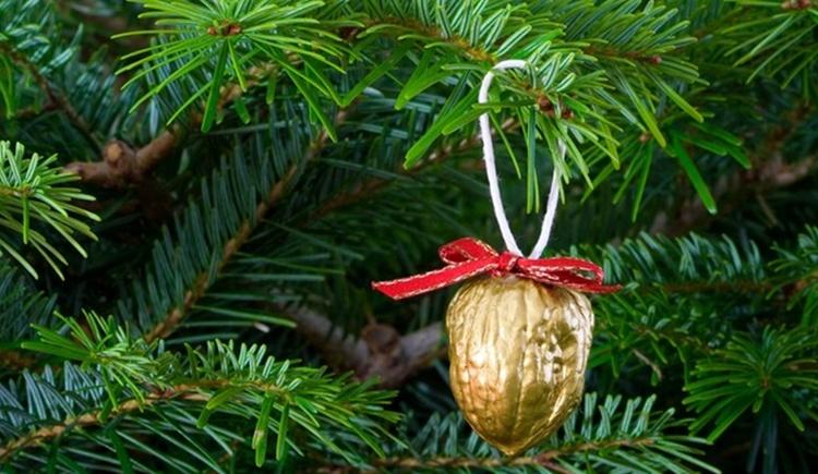 Tannenbaum mit einer vergoldeten Nuss hängen