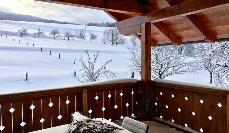 Ausblick von der Loggia im Winter auf schneebedeckte Wiesen und Bäume