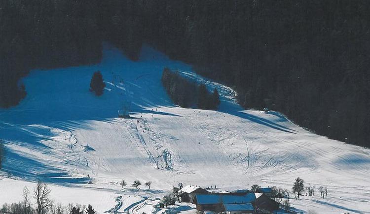 Schnee, Bäume, Hütte.