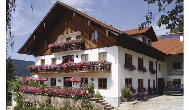 Blick auf das Bauernhaus mit vielen Blumen auf dem Balkon, Fenster und vor dem Haus. (© Mairhofer)