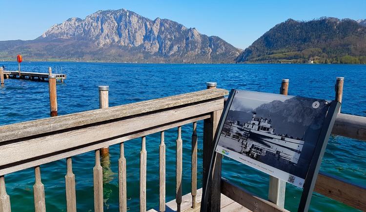 Zeitreiseweg Unterach am Attersee mit Blick auf den See