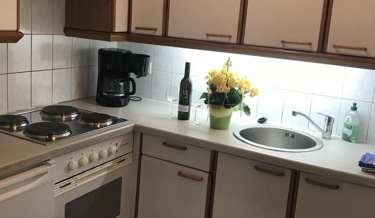 Wie am Bild zu sehen ist verfügt die Ferienwohnung über eine gut eingerichtete Küche. (© Gerald Rastl)