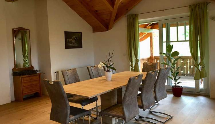 Dining area with big dining table and chairs
