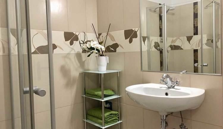 Bad mit Waschbecken, Spiegel, Regal und Dusche