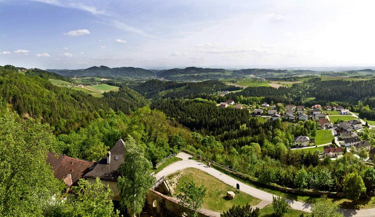 Panoramablick Burg Kreuzen, Bad Kreuzen. (© WGD Donau Oberösterreich Tourismus GmbH/Weissenbrunner)