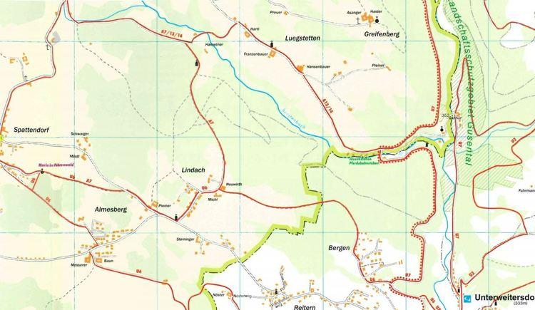 Rundweg A14 - Pferdeeisenbahn - U6 (© Wanderkarte Unterweitersdorf)