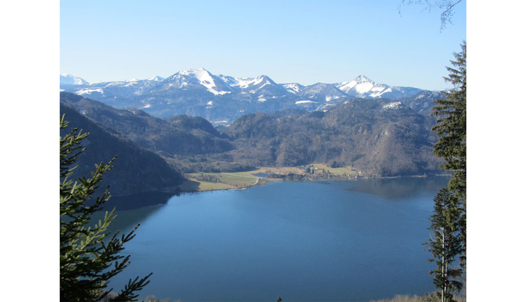Ausblick auf den See und die Berge im Hintergrund. (© Tourismusverband MondSeeLand)