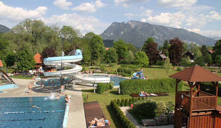 View from above on the slide in the outdoor swimming pool Bad Goisern